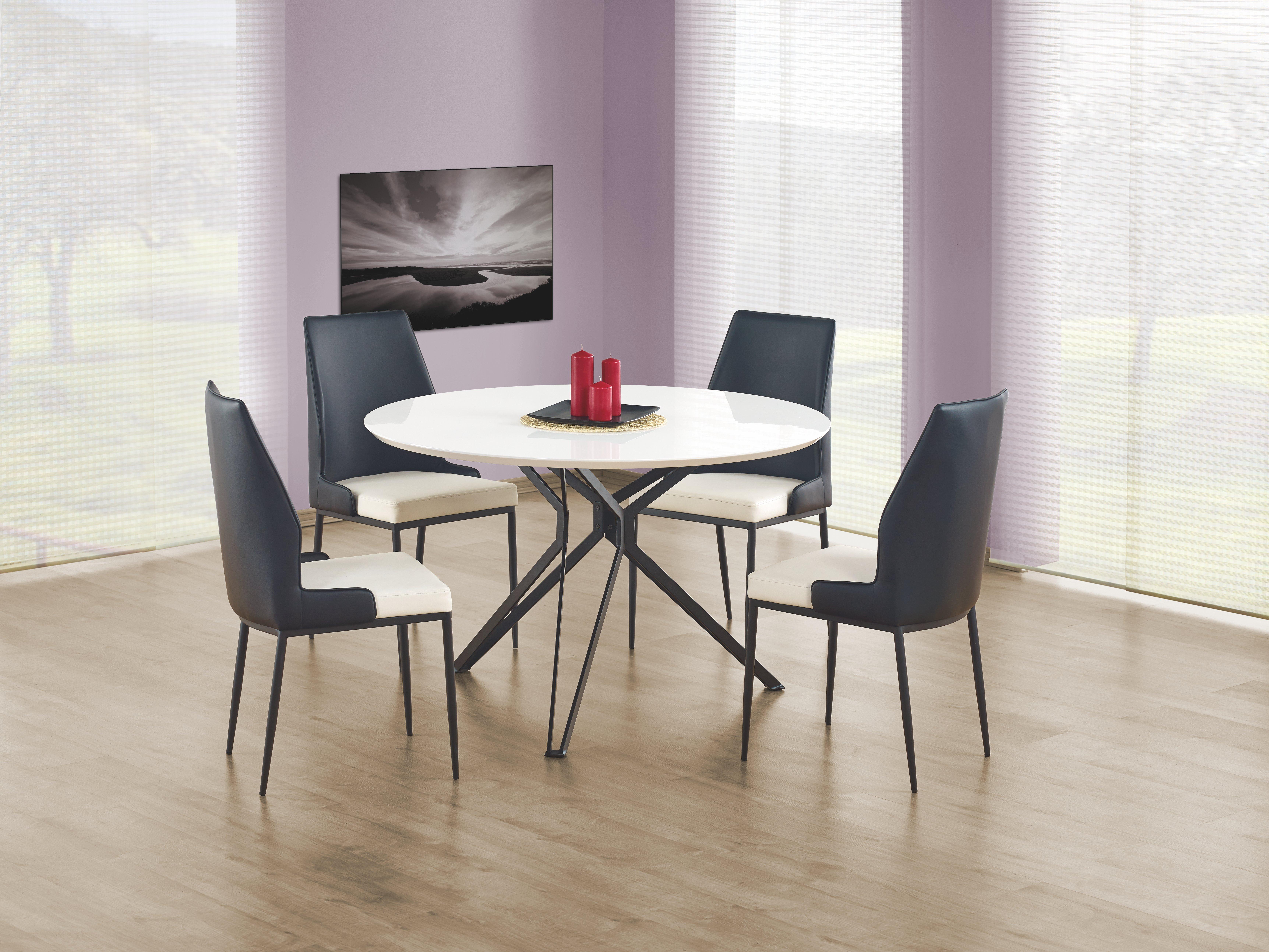 Set masa din MDF si metal Pixel White / Black + 4 scaune K199 White / Black, Ø120xH76 cm poza