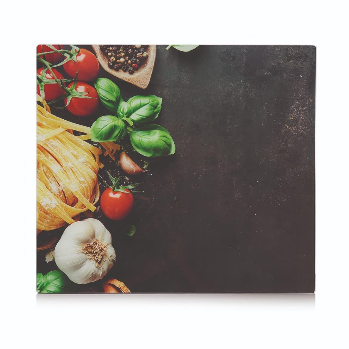 Placa din sticla protectie perete/plita, Pasta Multicolor, L56xl50 cm poza