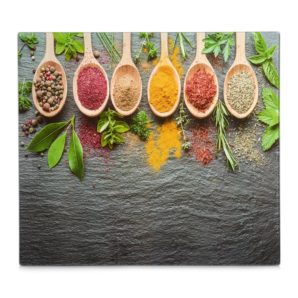 Placa din sticla protectie perete/plita, Spices, L56xl50 cm poza