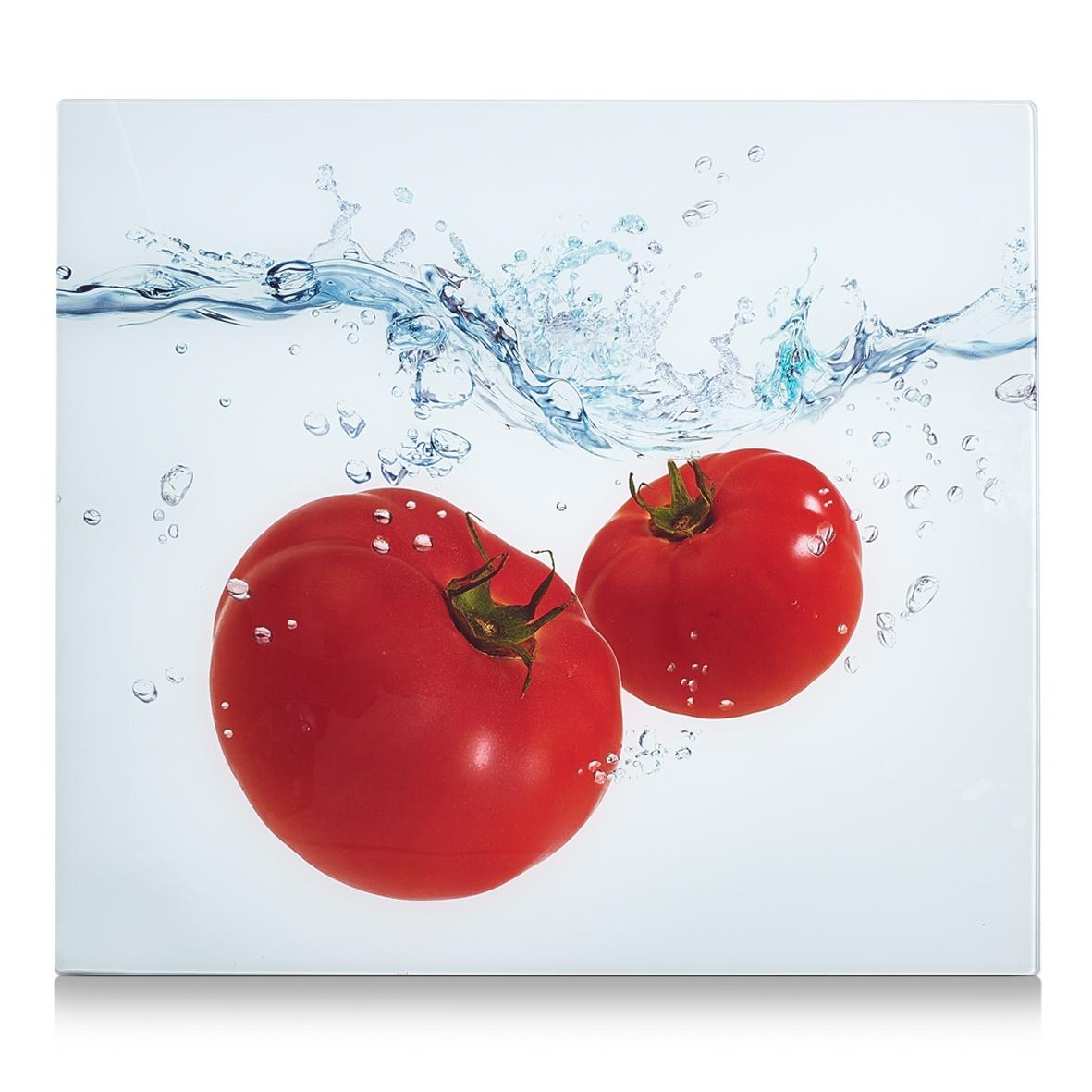 Placa din sticla protectie perete/plita, Tomato Splash, L56xl50 cm imagine