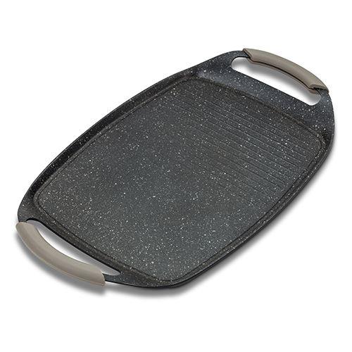 Placa grill cu invelis din piatra antiaderenta, manere detasabile din silicon, Funtzio, 47 x 29 cm poza
