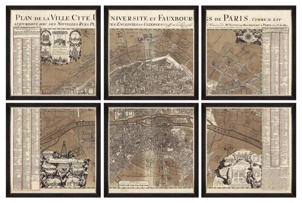 Tablou 6 piese Framed Art Plan De Ville Paris