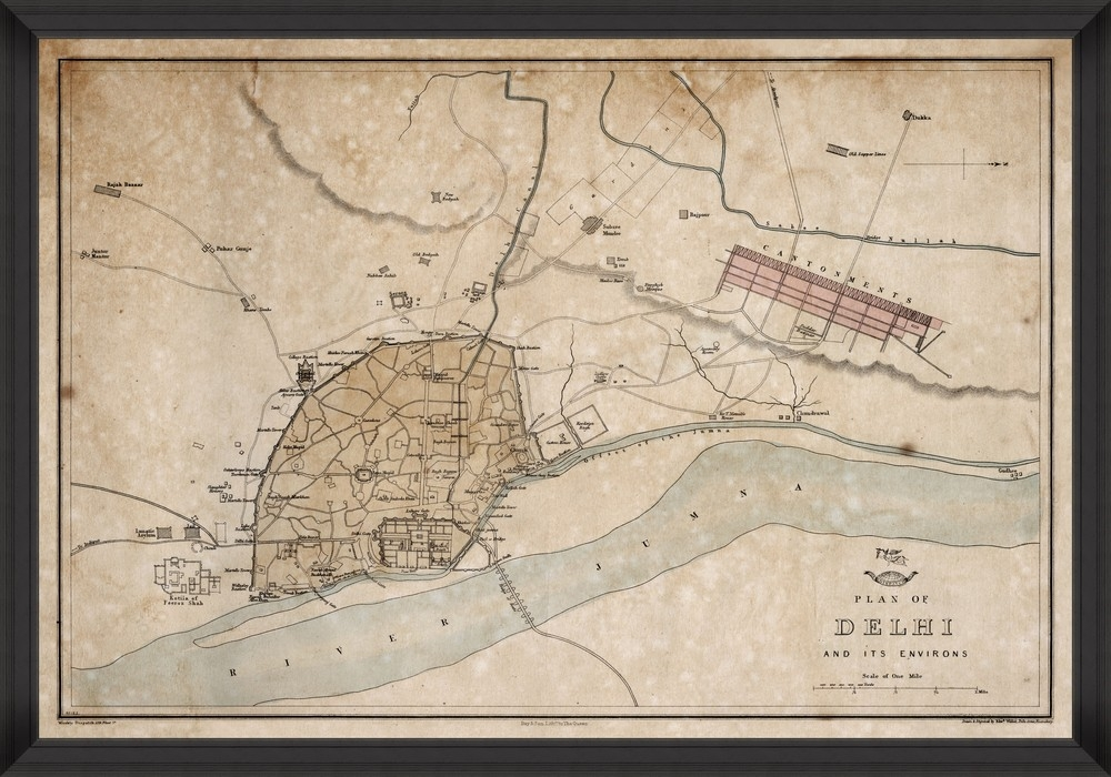 Tablou Framed Art Plan Of Delhi 1857 imagine