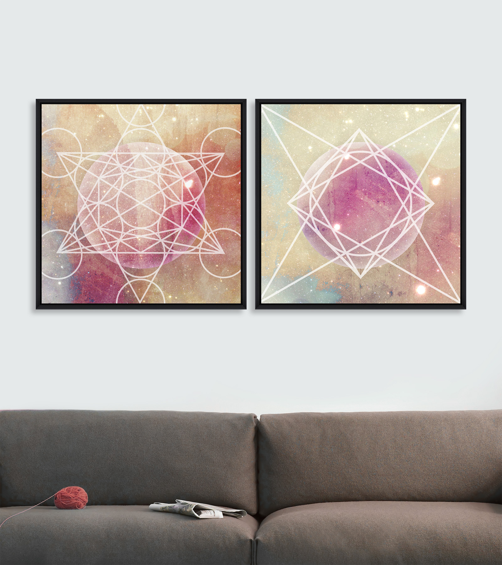 Tablou 2 piese Framed Art Planets