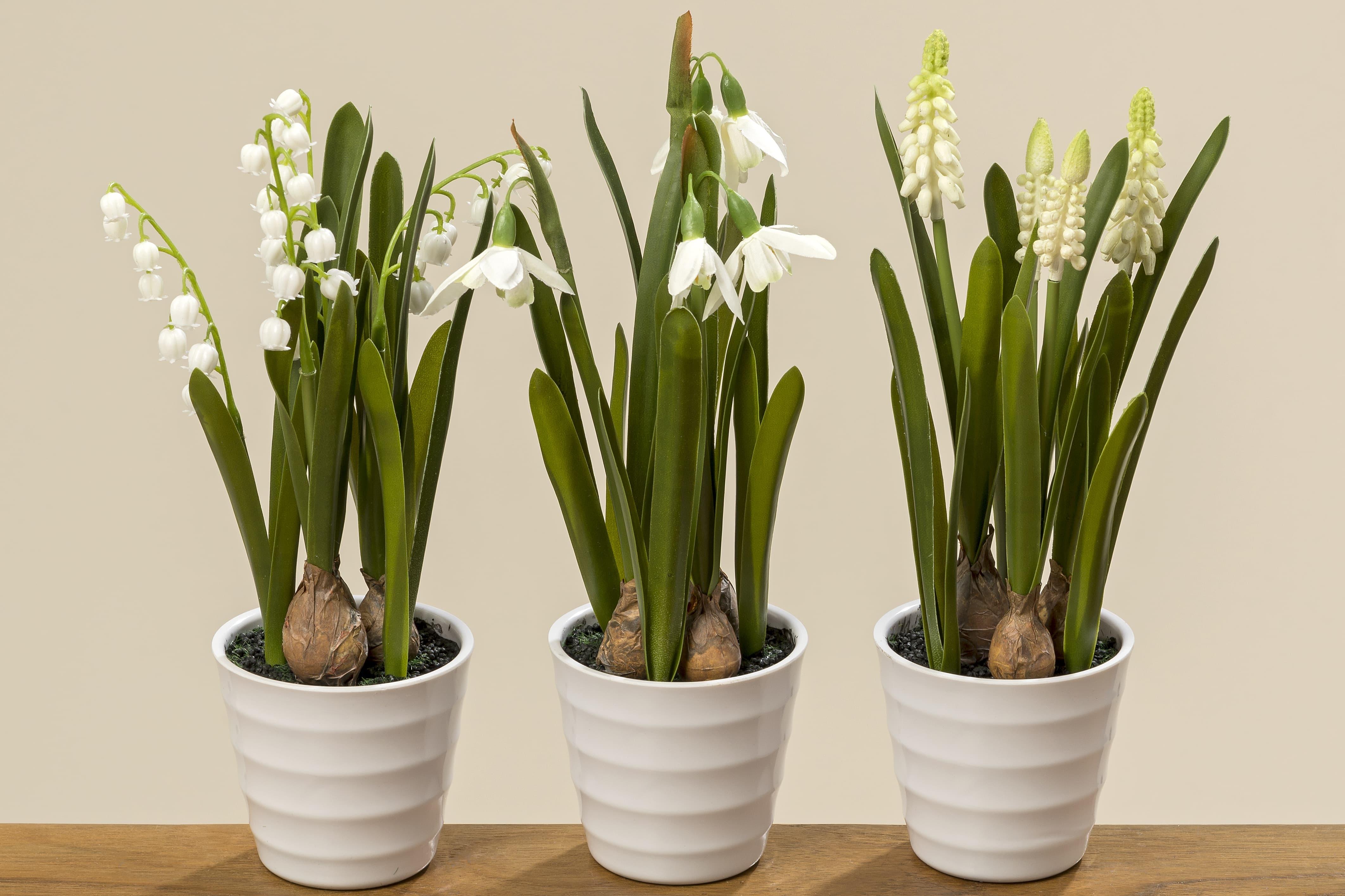 Planta artificiala in ghiveci Spring Flowers Alb / Verde, Modele Asortate, H28 cm