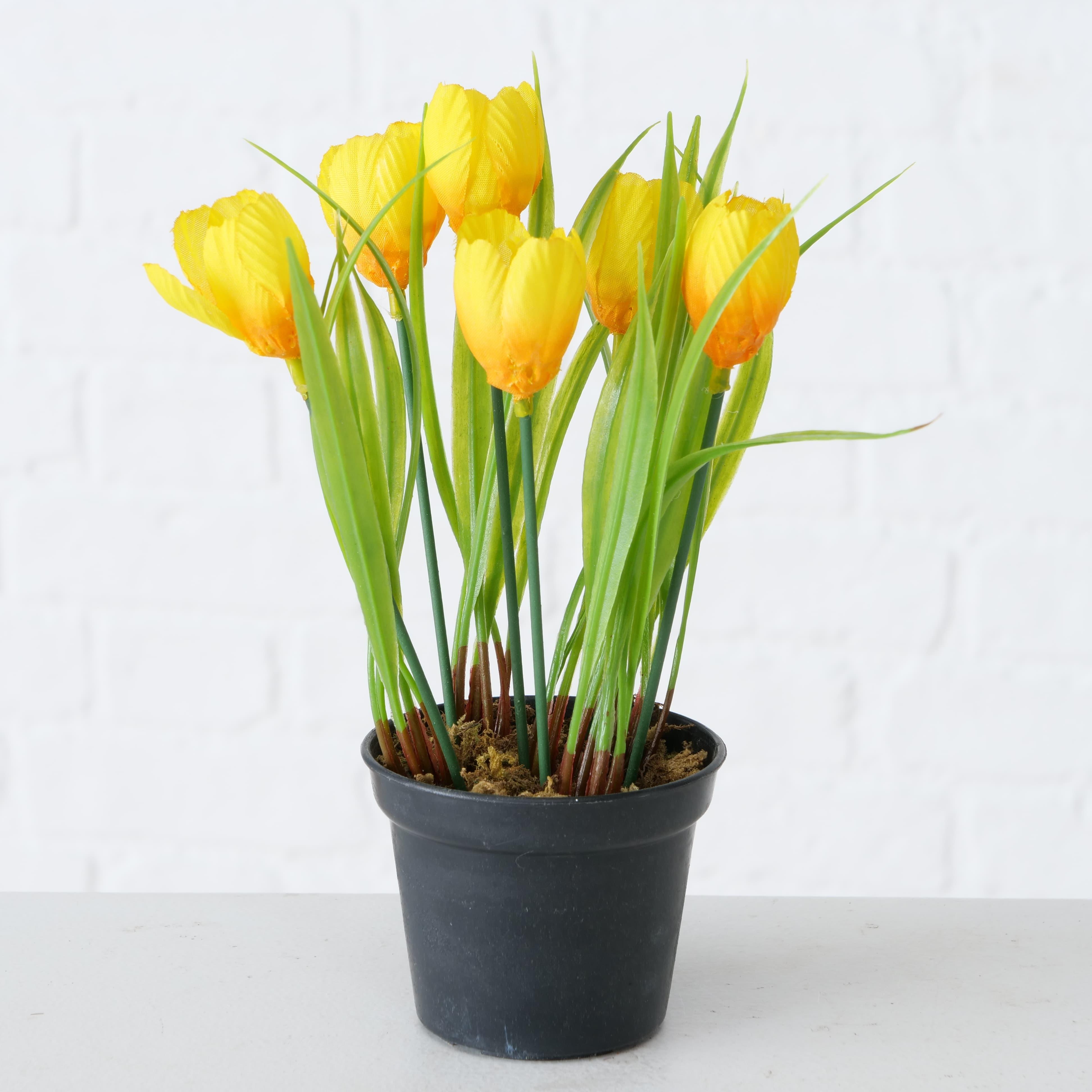 Planta artificiala in ghiveci Tulip Galben / Verde, H20 cm
