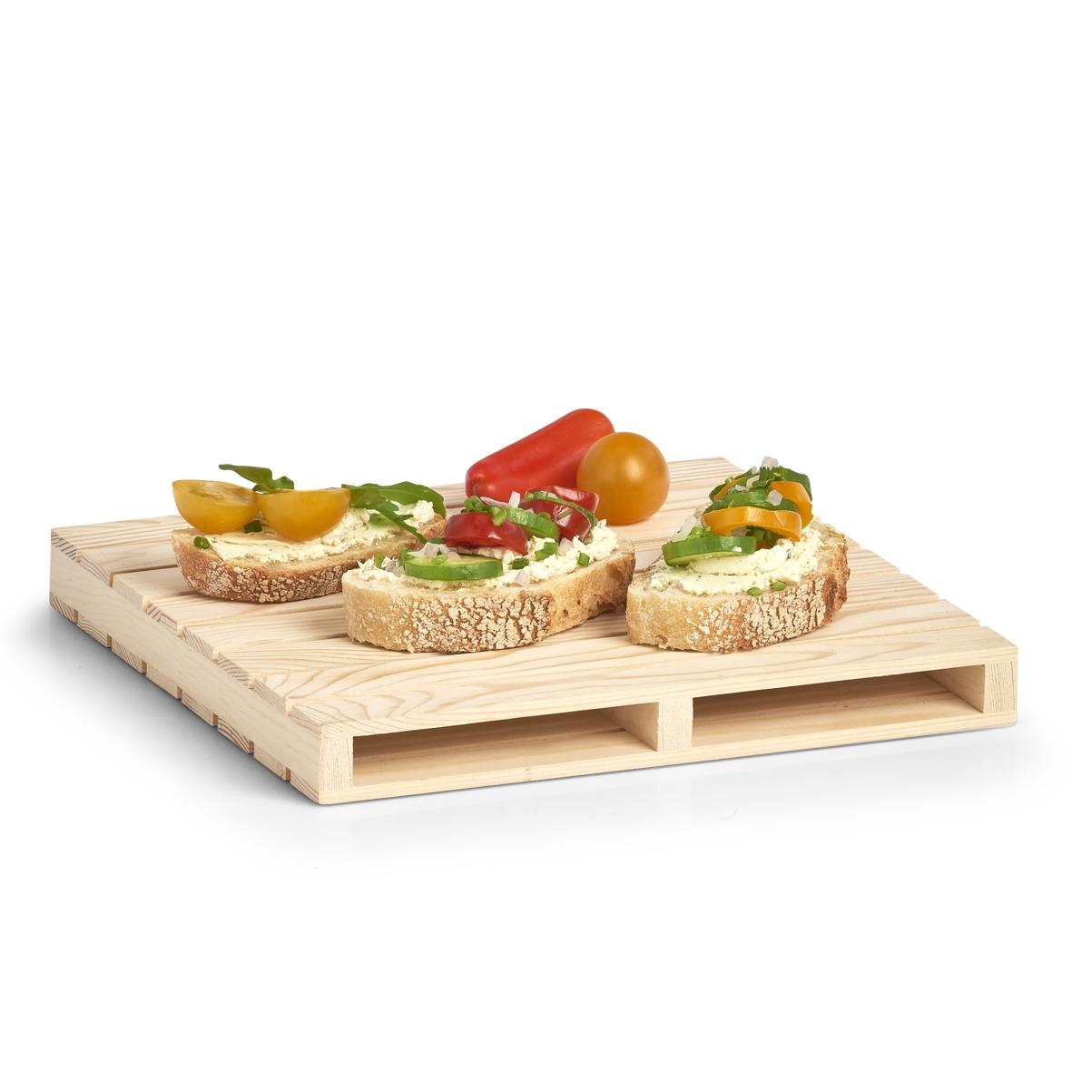 Platou de servire din lemn de pin Palette Natural, L24xl24xH2,5 cm imagine