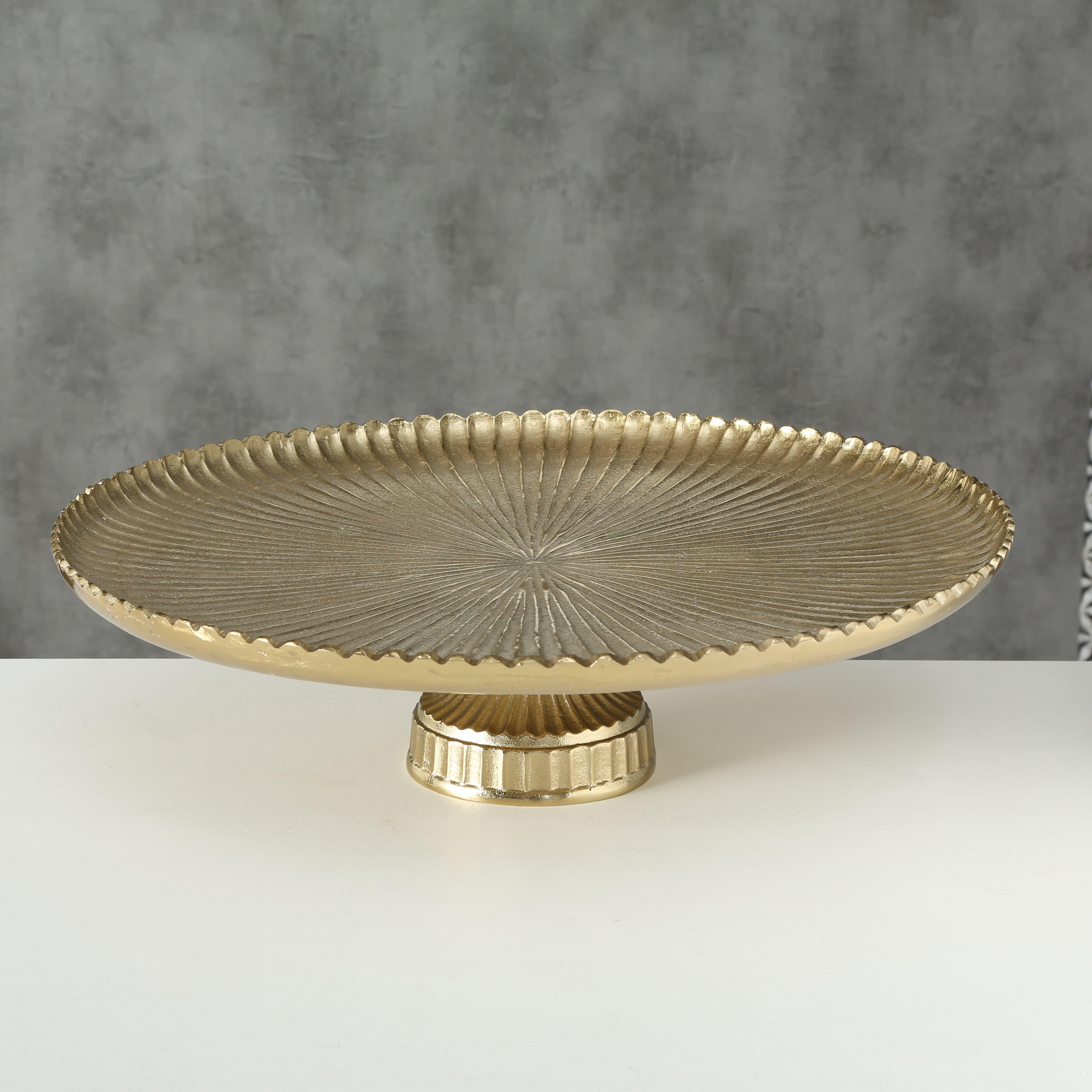 Platou decorativ din aluminiu Agatha Auriu, Ø62xH17 cm