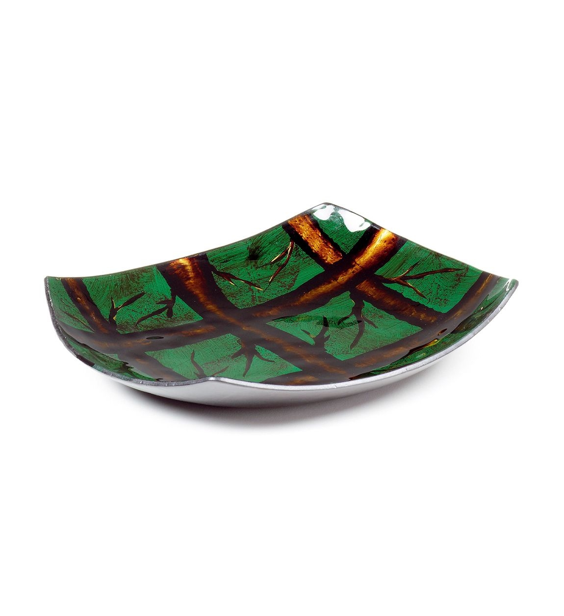 Platou decorativ din sticla Arizona Round Verde / Maro, Ø25xH3,5 cm poza