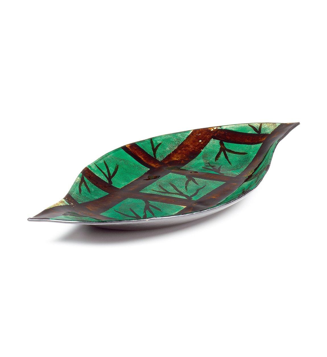 Platou decorativ din sticla Arizona Verde / Maro, L41xl22xH3,5 cm poza