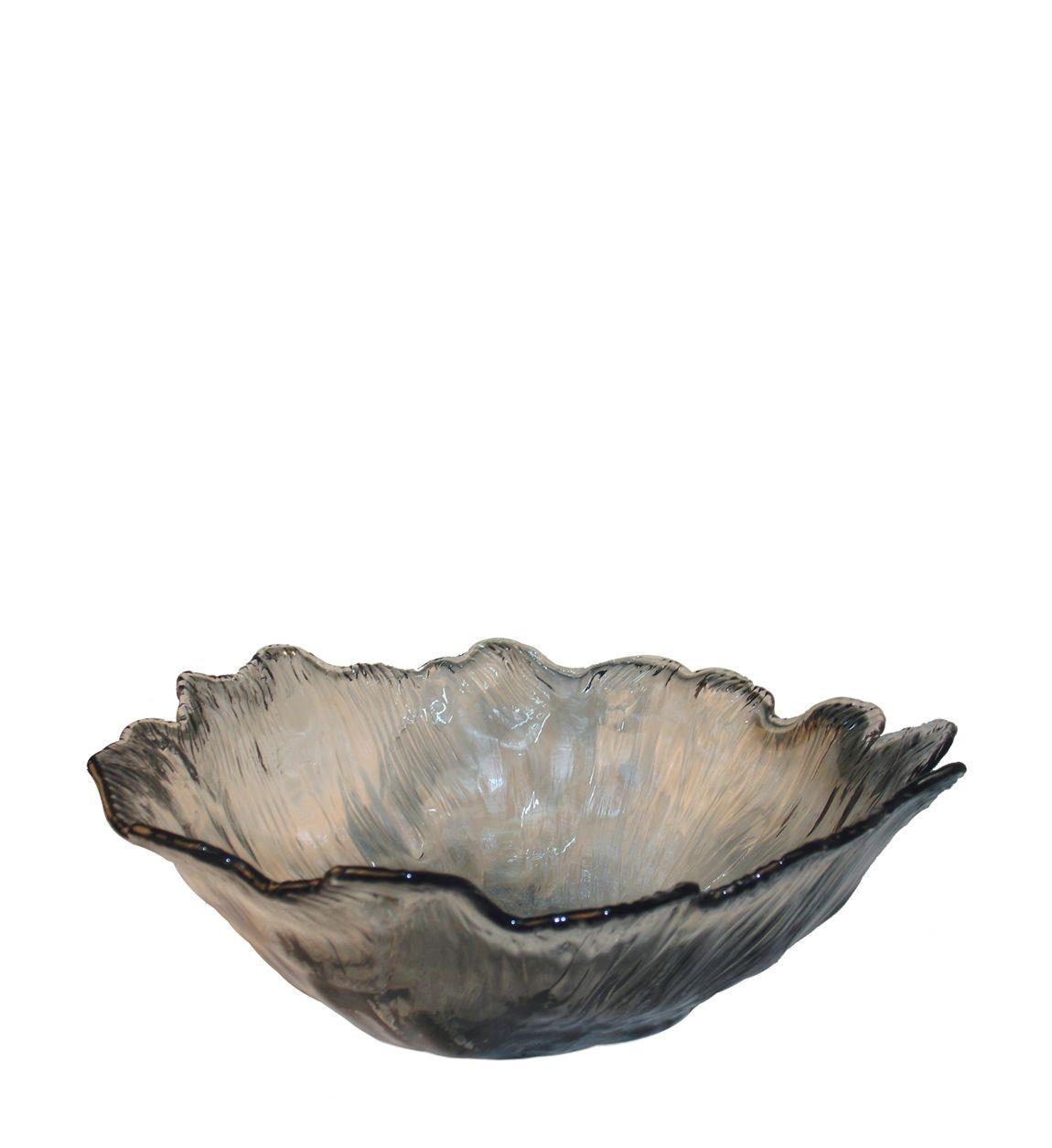 Platou decorativ din sticla Cristal Fumuriu, L32xl26xH11 cm