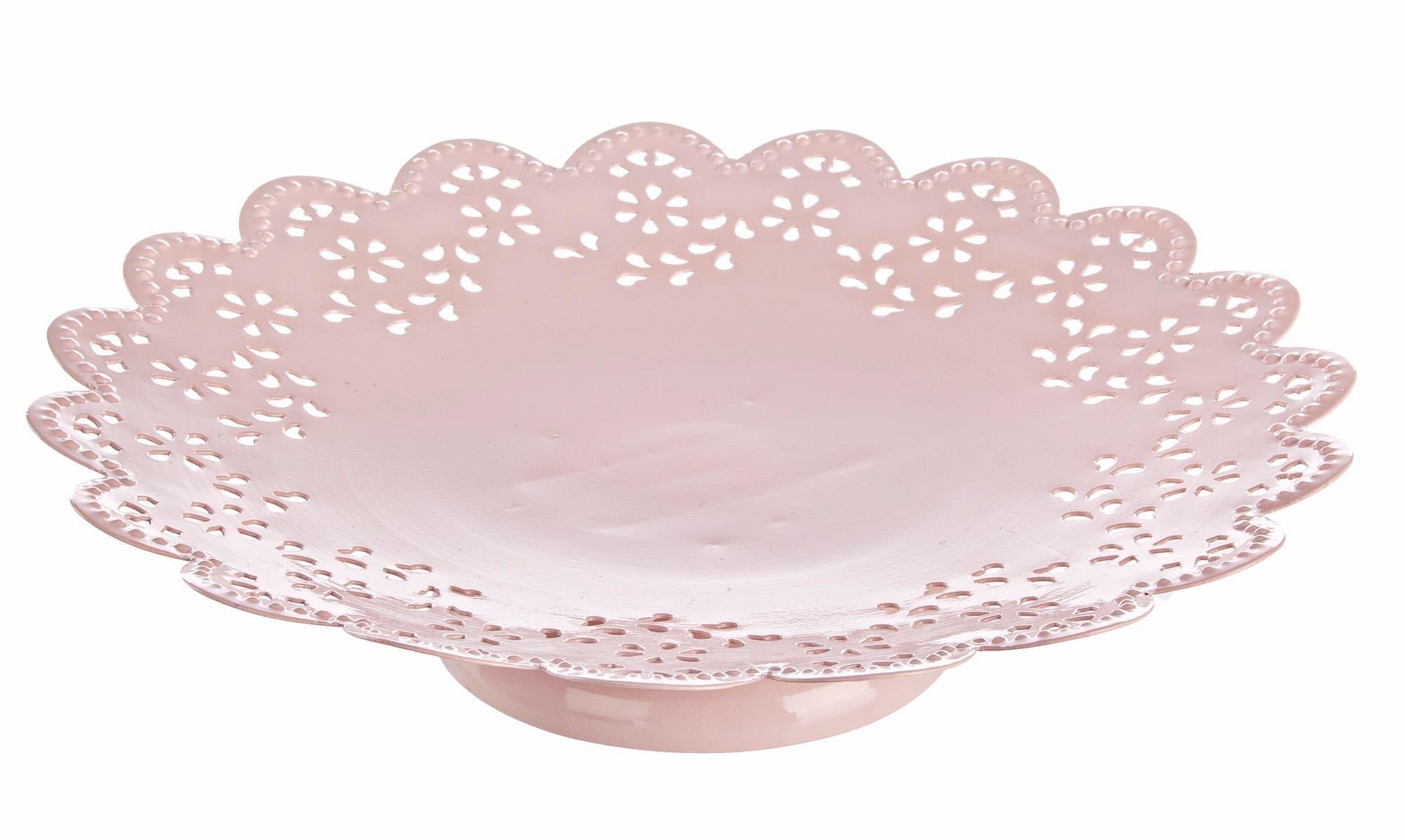 Platou decorativ metalic Finesse Roz deschis, Ø25xH5 cm poza