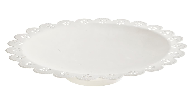 Platou decorativ metalic Fleuri Vanilla Crem, Ø30xH6 cm