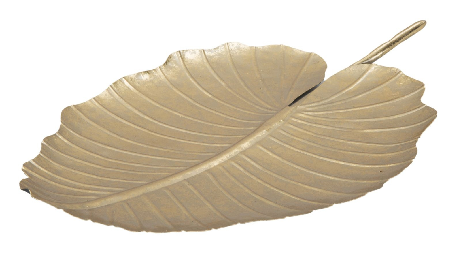 Platou decorativ metalic Glam Leaf A Auriu L355xl23xH2 cm