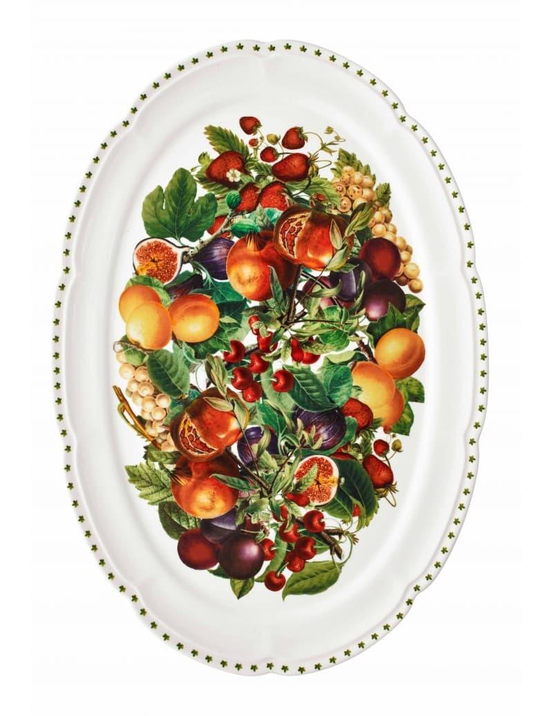Platou pentru servire din portelan, Le Primizie Alb / Multicolor, L50xl35 cm somproduct.ro