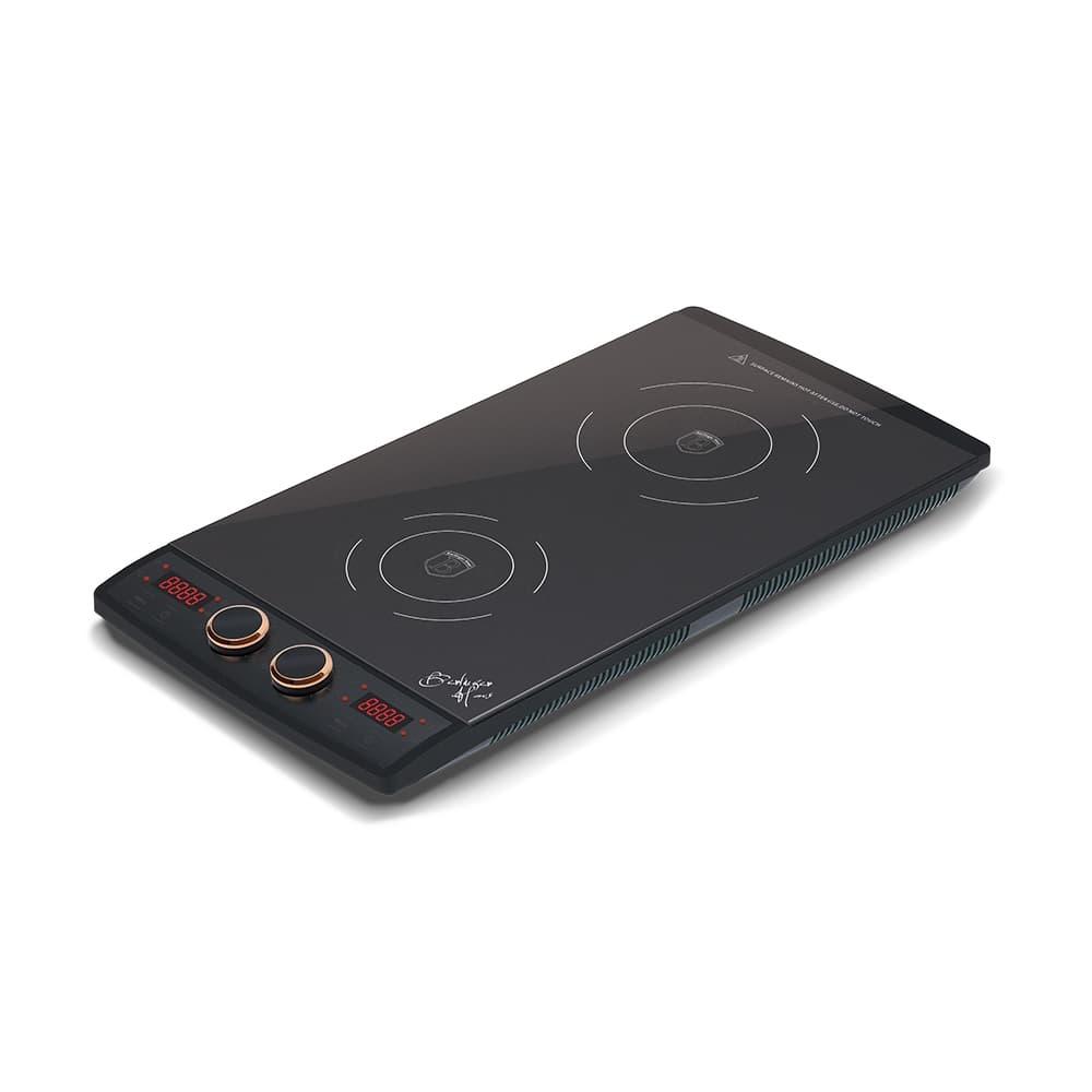 Plita cu inductie, control tactil, 2 arzatoare, 1600W, L49xl30 cm, Black Rose