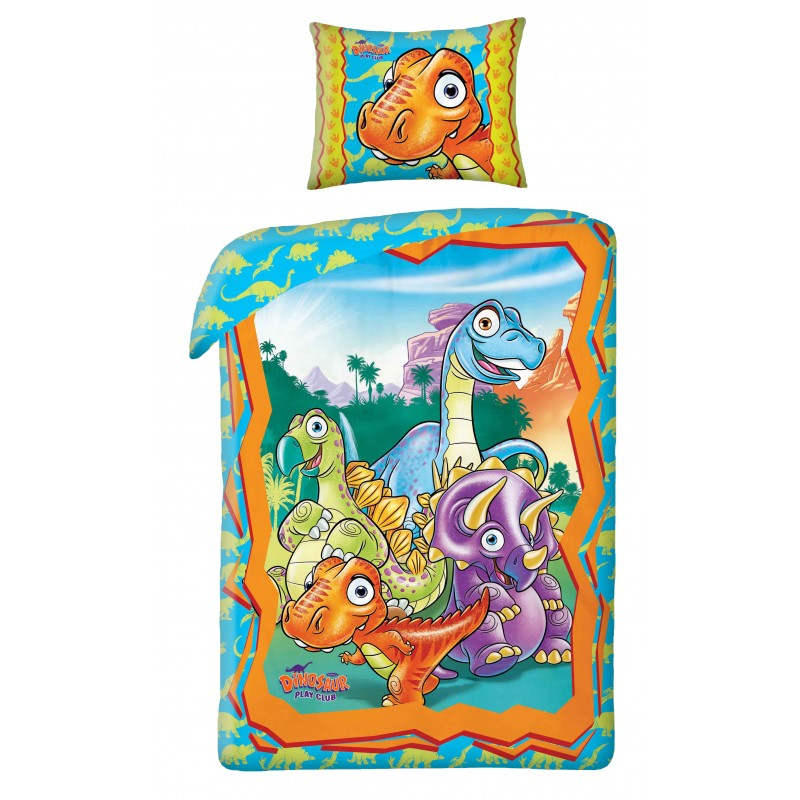 Lenjerie de pat copii Cotton Dino-0003BL