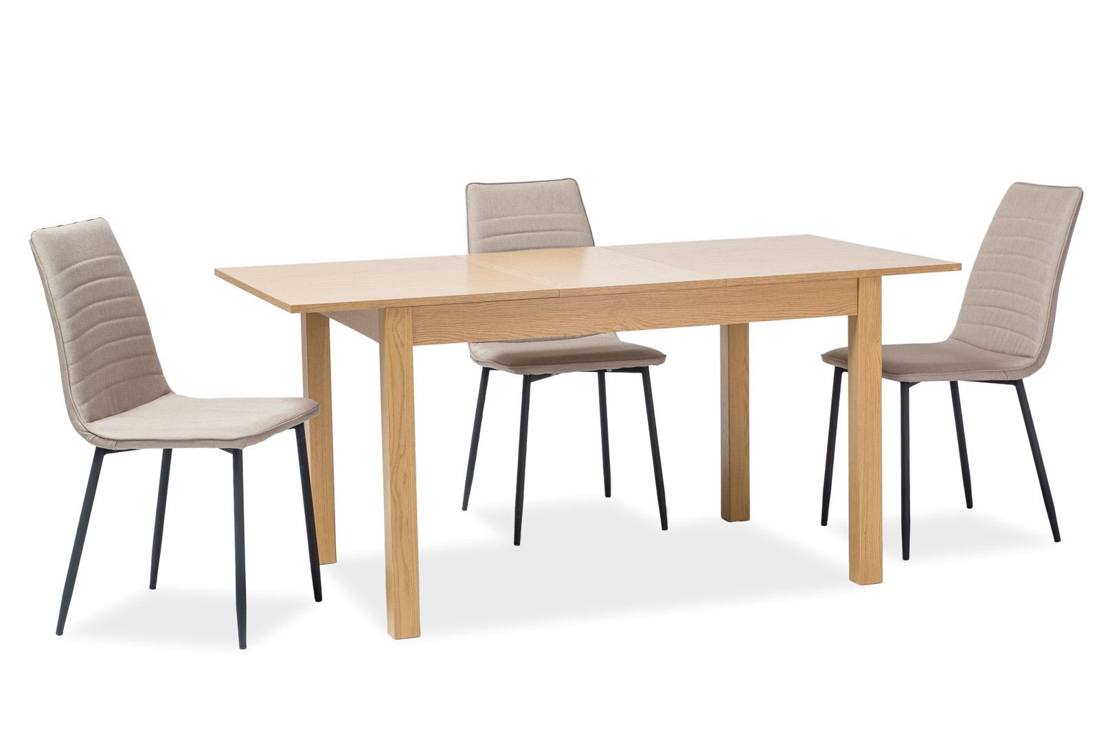 Set masa extensibila din pal si MDF Prism Oak + 4 scaune tapitate Tomas Beige, L120-160xl80xH75 cm poza