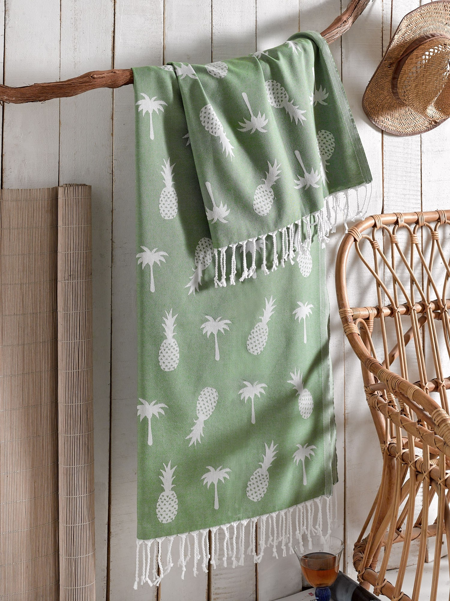 Prosop de spa din bumbac, Ananas Verde, 100 x 180 cm somproduct.ro