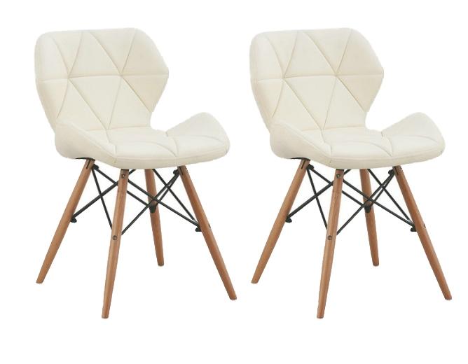 Set 2 scaune tapitate cu piele ecologica si picioare de lemn Provence White l49xA53xH72 cm
