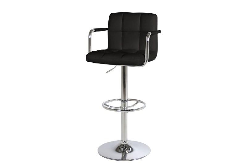 Set 2 scaune de bar tapitate cu piele ecologica Puffin Black