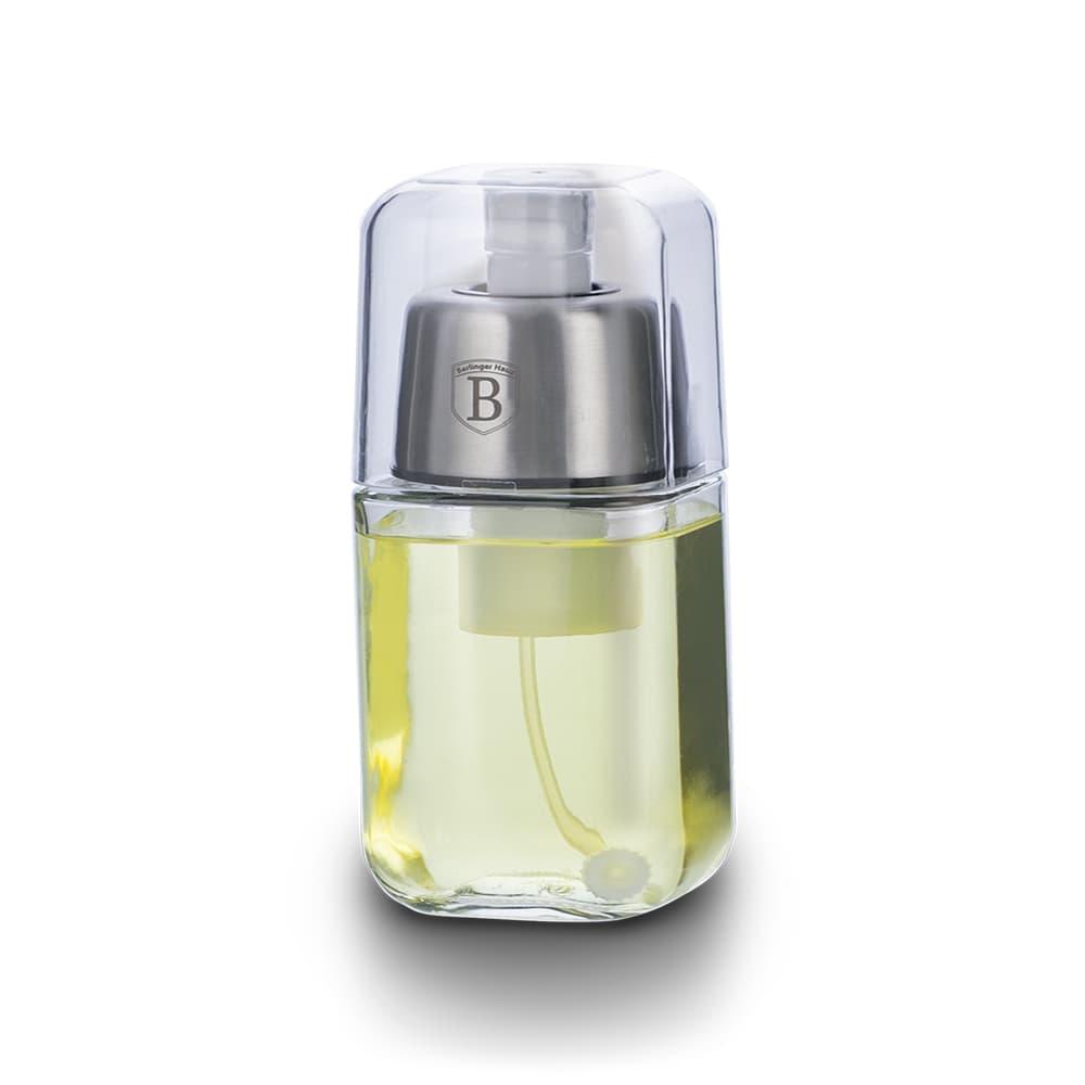 Pulverizator pentru ulei / otet, inox si sticla, 180 ml, Black Silver