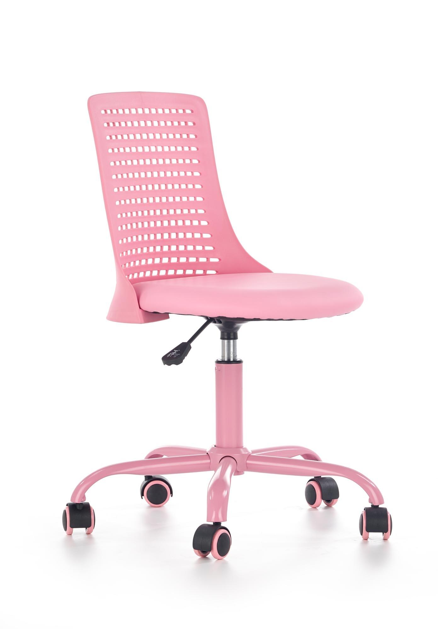 Scaun de birou pentru copii, din plastic tapitat cu piele ecologica Pure Roz, l43xA42xH78-89 cm poza