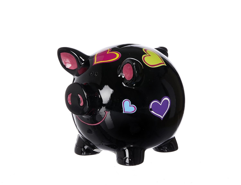 Pusculita ceramica Hearts Black 11 cm