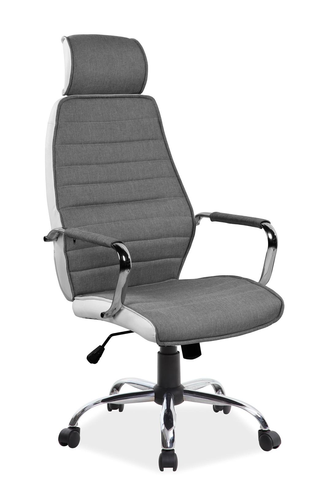 Scaun de birou ergonomic tapitat cu piele ecologica si stofa Q-035 Grey / White, l59xA52xH121-131 cm imagine