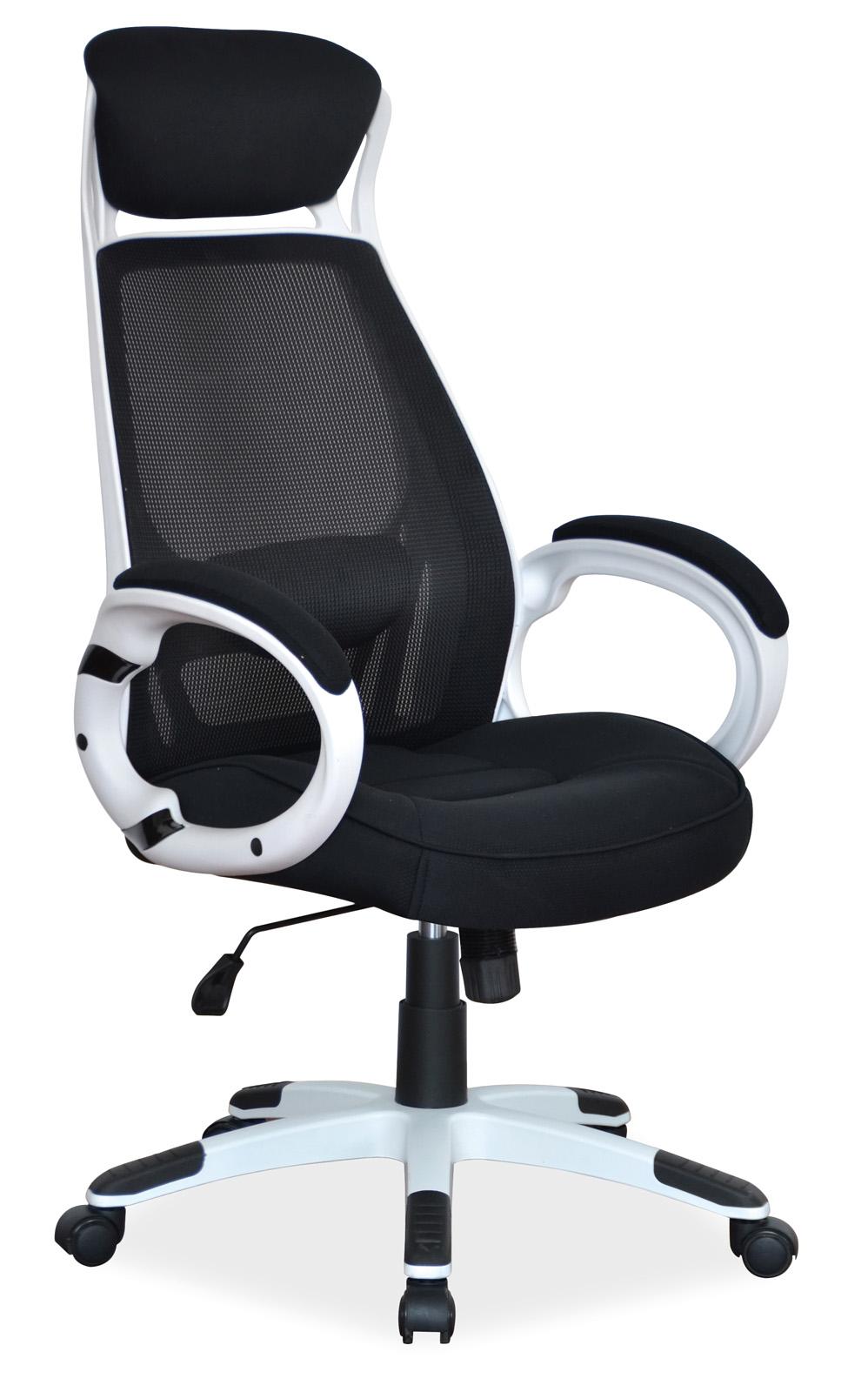 Scaun de birou ergonomic tapitat cu stofa Q-409 Black / White, l63xA51xH117-127 cm imagine