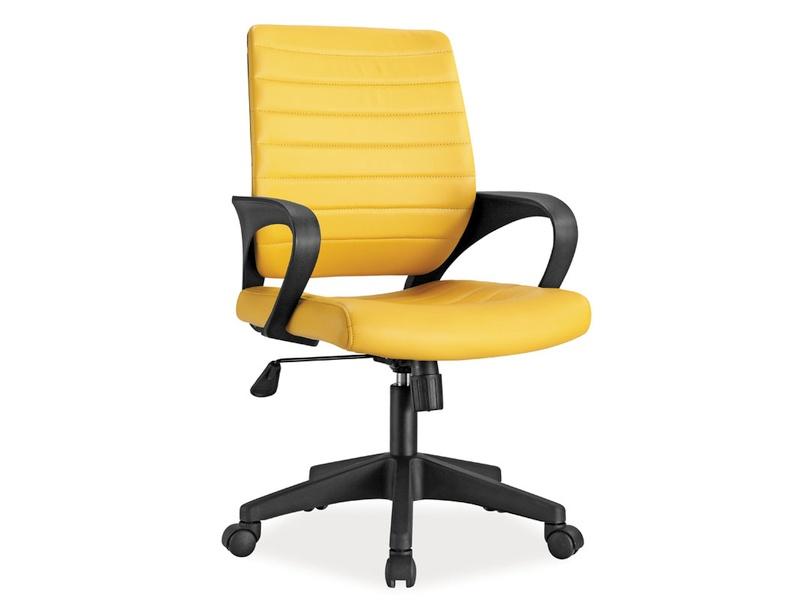 Scaun de birou ergonomic, tapitat cu piele ecologica Q-051 Yellow, l56xA57xH90-99 cm imagine