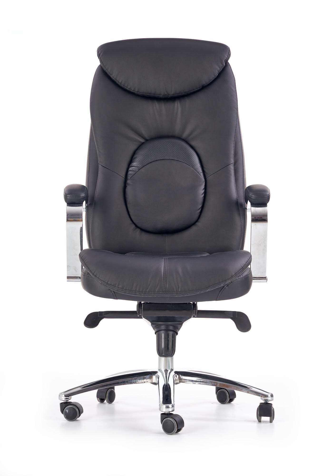 Scaun de birou directorial tapitat cu piele ecologica Quad Black, l63xA70xH124-132 cm poza