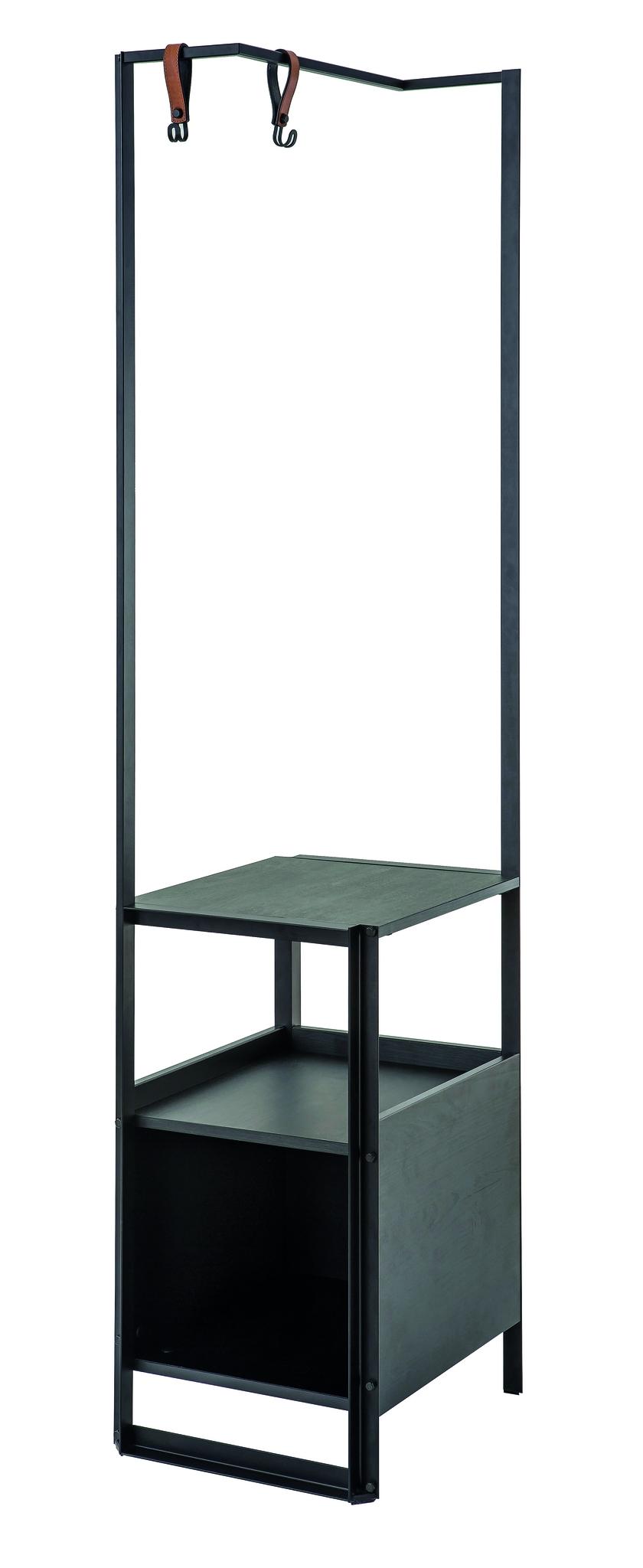 Raft cu suport umerase din pal si metal, pentru tineret Dark Metal Black / Graphite, l40xA48xH187 cm poza