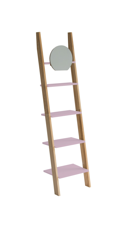 Raft din lemn de frasin si MDF cu oglinda Ashme Ash / Dusky Pink l45xA35xH180 cm
