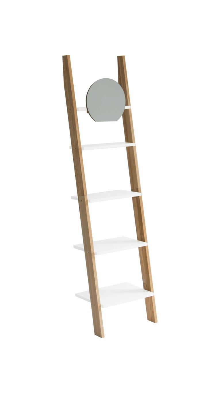 Raft din lemn de frasin si MDF cu oglinda Ashme Ash / White l45xA35xH180 cm
