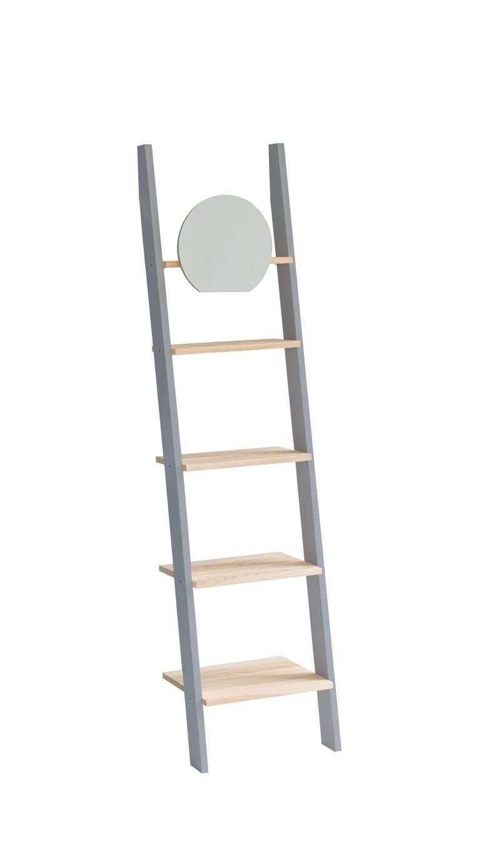 Raft din lemn de frasin si MDF cu oglinda Ashme Dark Grey / Ash l45xA35xH180 cm