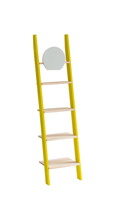 Raft din lemn de frasin si MDF cu oglinda Ashme Yellow / Ash l45xA35xH180 cm