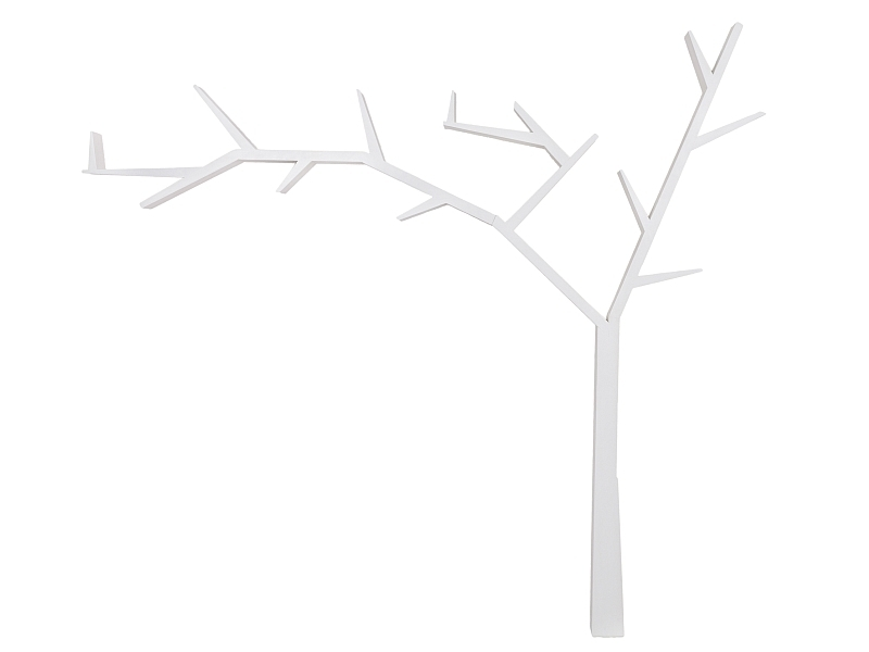 Raft din lemn de pin Poprad Tree Left Alb, l255xA15xH220 cm somproduct.ro
