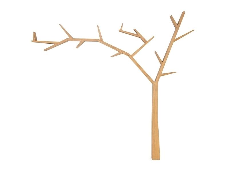 Raft din lemn de pin Poprad Tree Left Natural, l255xA15xH220 cm somproduct.ro