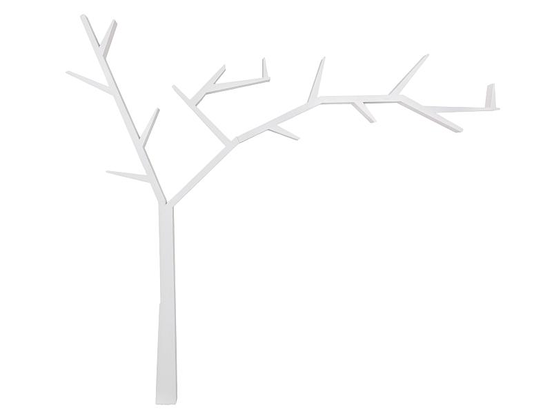 Raft din lemn de pin Poprad Tree Right Alb, l255xA15xH220 cm somproduct.ro