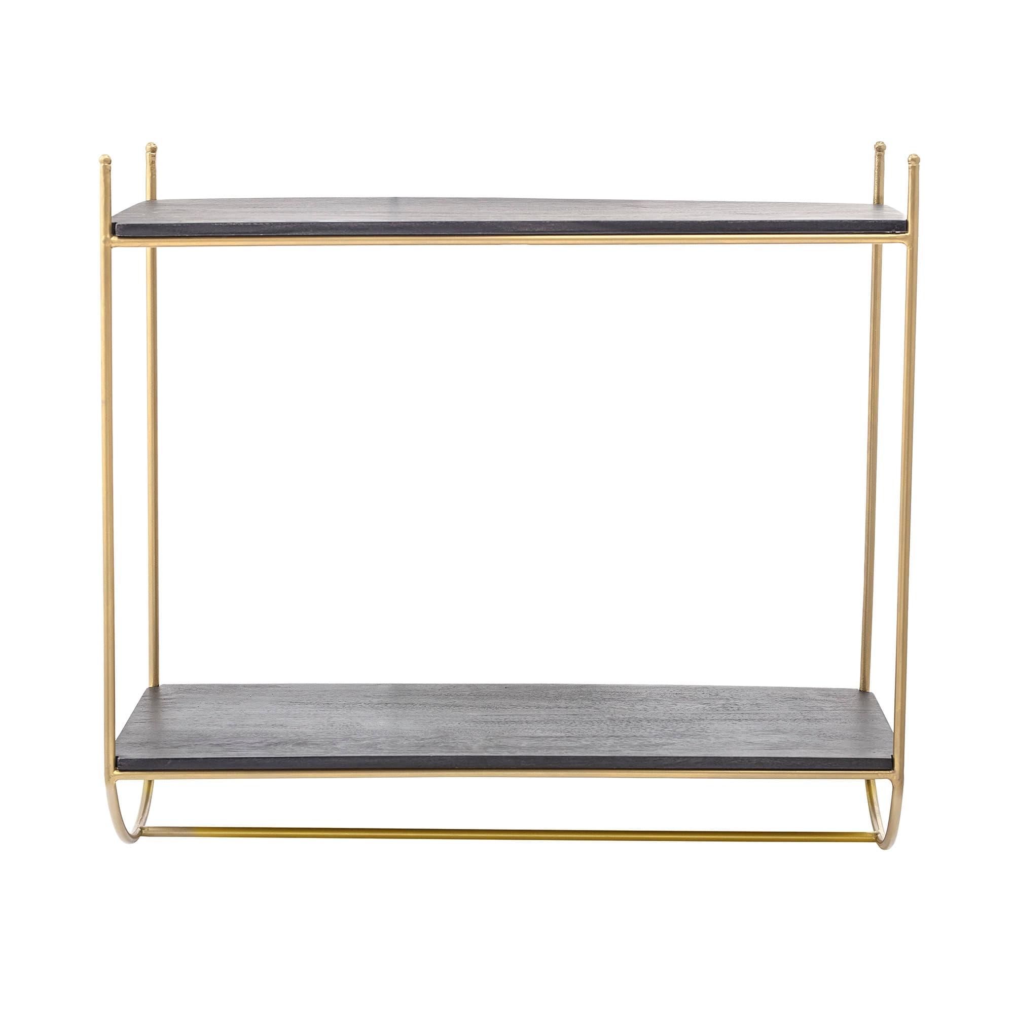 Raft din metal si lemn, Carly Negru / Auriu, l66xA30xH61 cm somproduct.ro