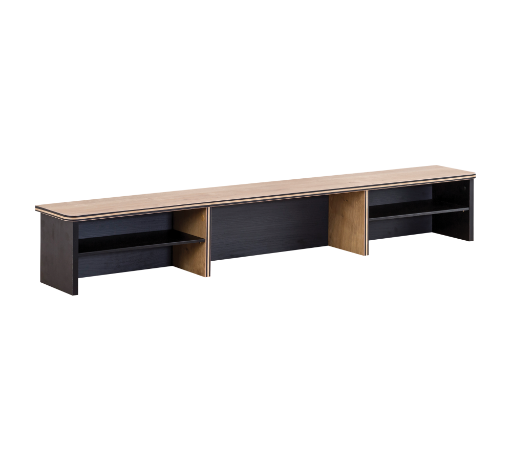 Raft din pal aferent masei de birou, pentru tineret Blacky Black / Nature, l138xA21xH22 cm poza