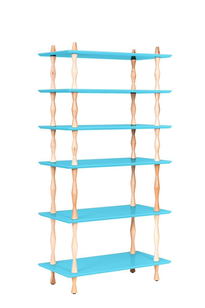 Biblioteca din lemn de fag si MDF Korro Dark Turquoise l80xA40xH165 cm
