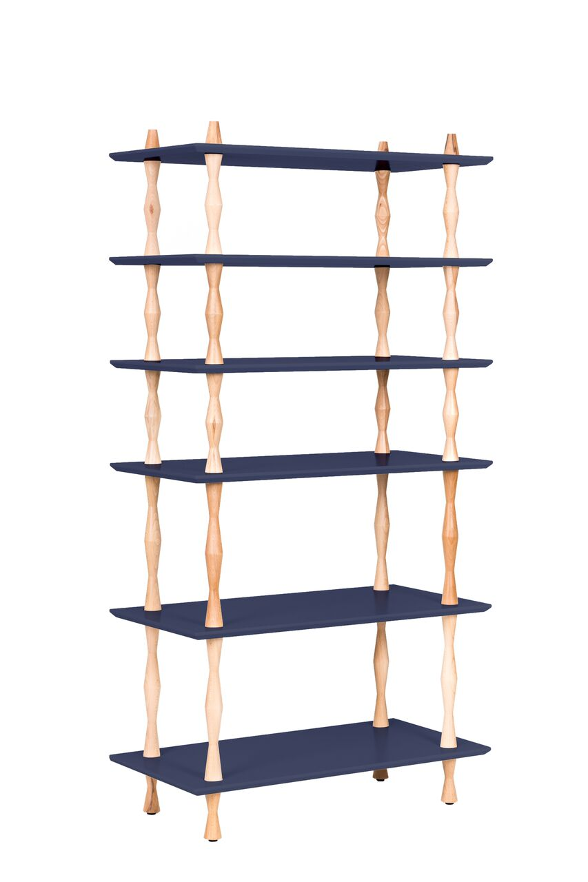 Biblioteca din lemn de fag si MDF Korro Graphite l80xA40xH165 cm