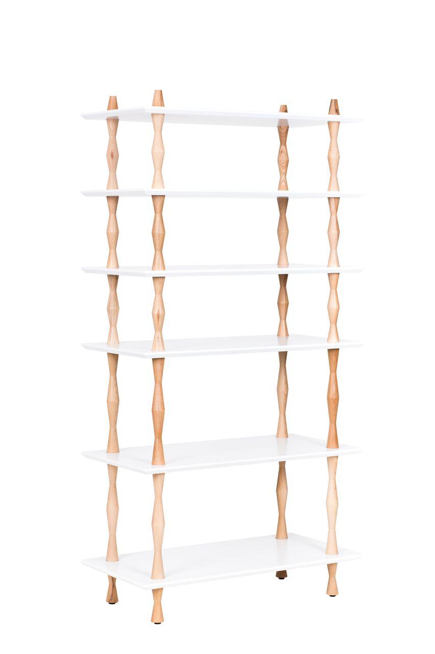 Bibliotecă Korro White, L80xl40xh165 cm