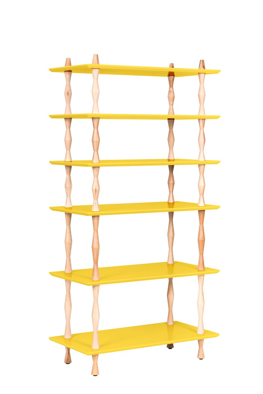 Bibliotecă Korro Light Yellow, L80xl40xh165 cm
