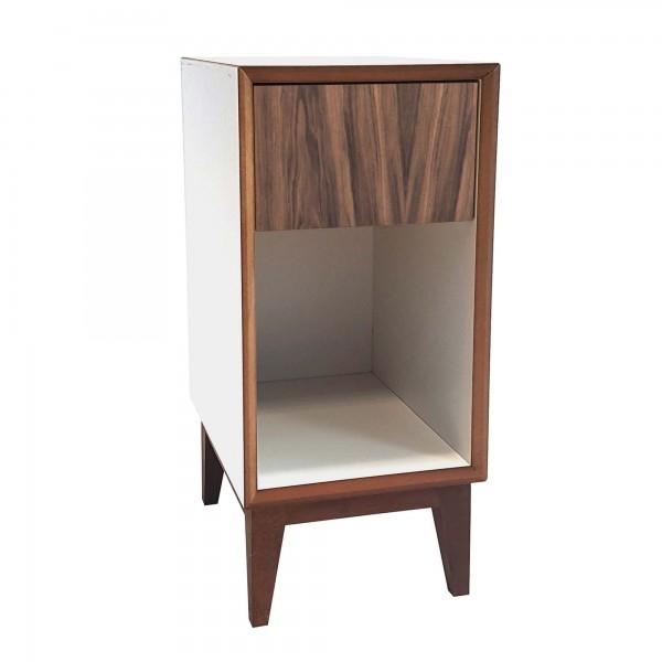 Noptiera din MDF cu 1 sertar Pix Small White / Wooden l30xA40xH50 cm