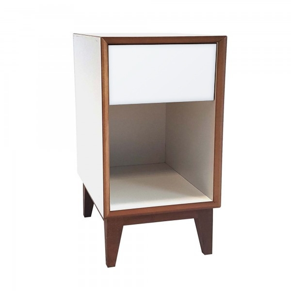 Noptiera din MDF cu 1 sertar Pix Large White / White l40xA40xH55 cm