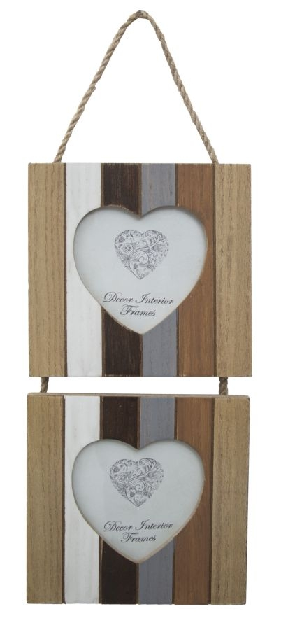 Rama foto decorativa, din MDF Lines 2 Hearts Natural, 15 x 43 cm