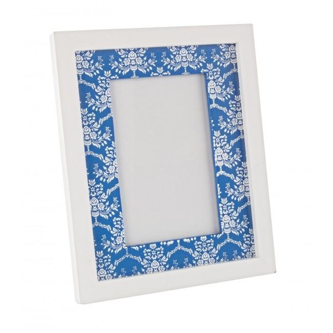 Rama foto decorativa din MDF Paros Alb / Albastru, 18 x 22 cm